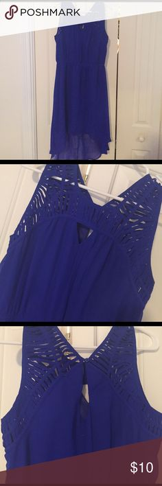 Blue Hi-low party dress Royal Blue high low party dress. Neck detailing and key hole opening in the back (pictures) perfect condition - worn once Charlotte Russe Dresses High Low