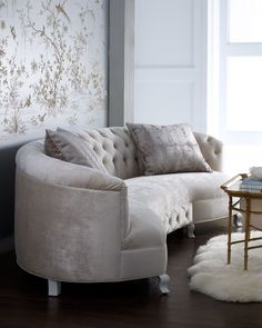 """Monroe"" Sofa by Haute House. My dream.to have a curved sofa on one side of a large round dining room table.so everyone is comfy & wants to just linger and talk after a great meal. Furniture, Living Room Furniture, Home, Traditional Sofa, Sofa, Curved Sofa, Tufted Sofa, Home And Living, Haute House"