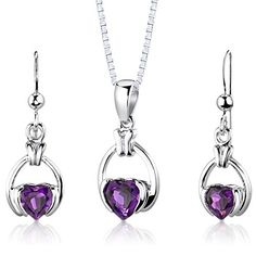 Amethyst Pendant Earrings Necklace Sterling Silver Rhodium Nickel Finish Simple Heart Shape 1.75 Carats *** Check out this great product.