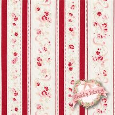 """Durham Quilt Revival 30818-030 By Lecien: Durham Quilt Revival is a collection by Lecien.  100% cotton.  43/44"""" wide.  This fabric features rows of red roses and red stripes on an off white background."""