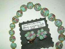 Vintage Venetian Murano Blue/Pink Wedding Cake Art Glass Bead Necklace/Earrings