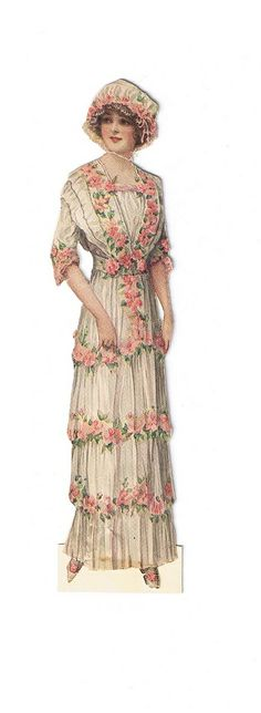vintage lady fashion woman in white dress with pink roses and bonnet-like hat Look Vintage, Shabby Vintage, Vintage Ephemera, Vintage Girls, Vintage Beauty, Vintage Images, Vintage Prints, Vintage Outfits, Vintage Pictures