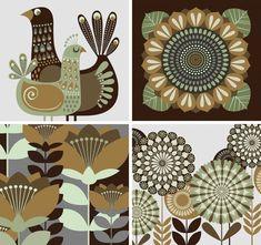 Dancing Kangaroo - The art of Galia Bernstein Folk Art Flowers, Flower Art, Scandi Art, Life Sketch, Pottery Designs, Art Background, Graphic Design Posters, Home Decor Wall Art, Fabric Painting