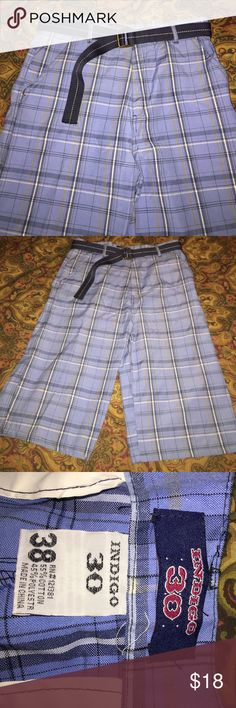 """Men's Indigo 30 Long Shorts These shorts are in EUC. Never worn. They are too long for my hubby. They measure 18"""" side to side at top of waist and inseam is 15"""". They have 2 front side pockets and 2 back pockets with Velcro closers💕 belt included. Indigo 30 Shorts Flat Front"""