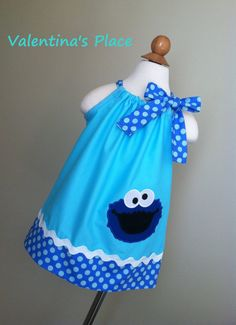 Sesame street Cookie Monster pillowcase dress by Valentinasplace, $28.00