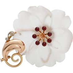 An Art & Crafts Period Flower Brooch Pin of Carved Rock Crystal, Diamonds and Garnet set in 14 KT Gold