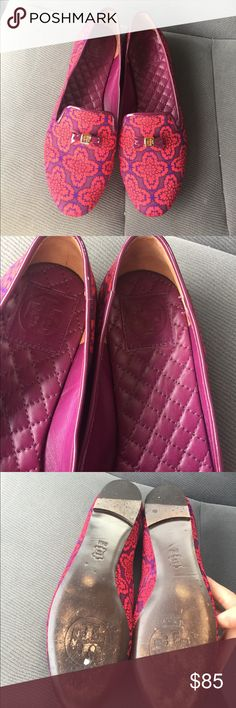 Tory Burch Shoes! Gorgeous red and blue TB with gold emblem; Great condition! Tory Burch Shoes Flats & Loafers