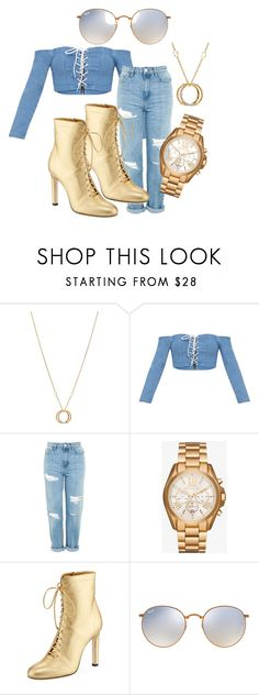 """Denim Galore"" by ilaodooh on Polyvore featuring Charriol, Topshop, Michael Kors, Jimmy Choo and Ray-Ban"