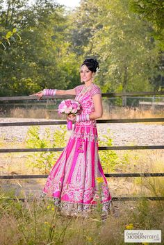 Pink South Asian Indian Bridal Wedding Reception Lengha - more inspiration @ http://www.ModernRani.com