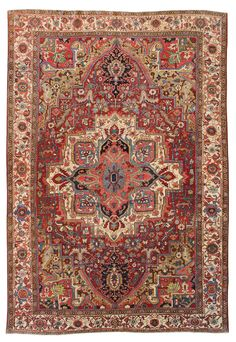 Antique Heriz Rug    Hand-knotted in Persia  Circa 1930