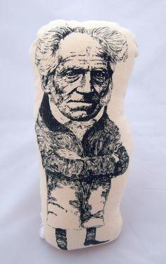 Arthur Schopenhauer handmade cotton plushie Cotton Textile, Cushion Filling, Plushies, Screen Printing, Textiles, Handmade, Painting, Screen Printing Press, Hand Made