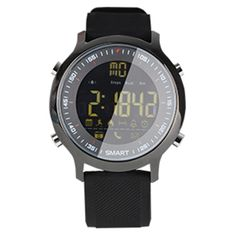 [$18.12] EX18 Smart Sports Watch FSTN Full View Screen Luminous Dial High Tensile TPU Strap, Support Steps Counting / Burned Calory / Calendar Date / Bluetooth 4.0 / Incoming Call Reminder / Low Battery Reminder(Black)