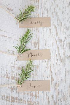 simple greenery wedding escort cards