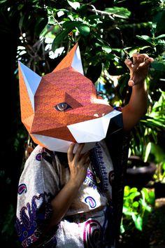 วิธีทำหน้ากากรูปหัวสุนัขจิ้งจอก (Fox head mask papercraft model) Download free printable template in PDF