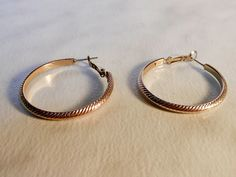 Textured Hoop Earrings    Gold Tone  Pierced Ears by GemstoneCowboy on Etsy