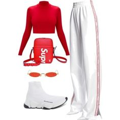 A fashion look from December 2017 featuring MISBHV pants, Balenciaga sneakers i Louis Vuitton shoulder bags. Browse and shop related looks. Kpop Fashion Outfits, Sporty Outfits, Stage Outfits, Cute Casual Outfits, Stylish Outfits, Casual Clothes, Dress Outfits, Look Fashion, Korean Fashion