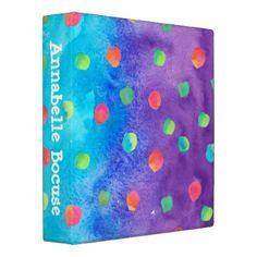 #trendy - #Colorful Trendy Watercolor Dots 3 Ring Binder