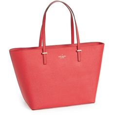 kate spade new york 'cedar street harmony - medium' tote (400 CAD) ❤ liked on Polyvore featuring bags, handbags, tote bags, red tote, vintage leather purse, genuine leather tote, leather tote bags y red leather tote bag