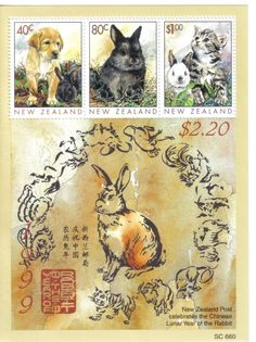 New Zealand - $2.20 - Rabbit Stamp Sheet - 1999 Chinese Lunar Year of the Rabbit, postal stamps Year Of The Rabbit, Chinese Calendar, Bunny Art, 1920s Art Deco, Mail Art, Natural History, Fossils, Rabbits, Postage Stamps