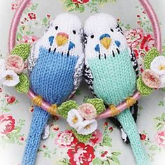 Knitted budgies.  I think this is one of Alan Darts pattern for birds with some color changes. Must try and do these.