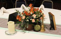 Elegant rustic table arrangement with orange and peach, *Creative Touches Evansville*