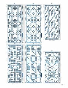 These are sweater patterns, but could use in beading. Crochet Chart, Filet Crochet, Sweater Patterns, Knitting Machine Patterns, Knitting Charts, Fair Isle Pattern, How To Purl Knit, Fair Isle Knitting, Treadmills