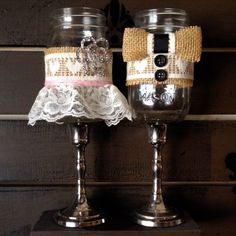 Bride and Groom Mason Jar Drink Glass Covers