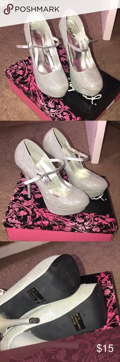 Silver sparkly heels. Sparkly heels with straps and buckle. Great condition, worn once for prom. Comes with box. Qupid Shoes Heels