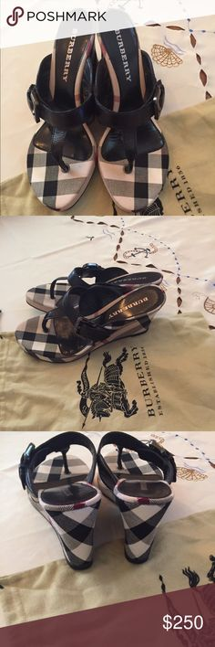 Authentic Burberry wedge Like new Berberry wedges only signs of being worn is on the bottom. Would like to trade for another pair of designer shoes that are flat or have a very small heel/wedge. Burberry Shoes Wedges
