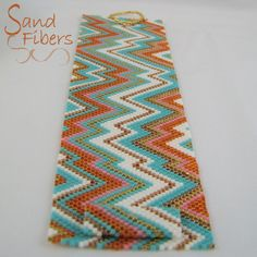 Peyote Pattern Wide Summer Abstract Cuff / Bracelet by SandFibers