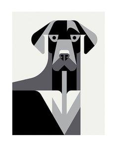 Minimal black&white illustration by Josh Brill 'Canine' #illustration #design #graphicdesign