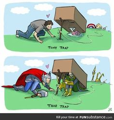 A guide on how to catch Tony and Thor by Captain America and Loki ~ Oh my Lol! Thor X Loki, Marvel Fan, Marvel Heroes, Marvel Avengers, Funny Marvel Memes, Marvel Jokes, Funny Memes, Hilarious, The Avengers