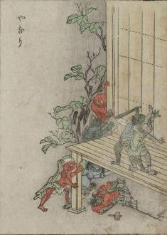 "Yanari -- Little demons that produce the creaking sounds heard in old houses. From The Kaibutsu Ehon (""Illustrated Book of Monsters""), an 1881 book featuring woodblock prints of yōkai, or creatures from Japanese folklore."