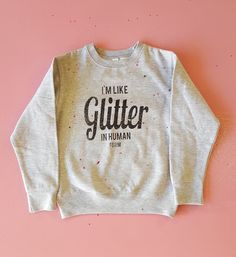 Our glitter crew neck sweatshirt is hand printed on a 50/50 cotton/poly fleece. It's nice and cozy for cooler days. Camp moxie products Are all hand printed to give them a vintage feel and ensure that not one is exactly the same.our garments are originals, just like you!  Be sure to look at t...