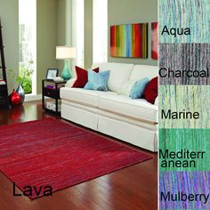 Olmstead rug is a Jacquard-woven Dhurrie line that features effervescent polyester silk, a luxurious sheen in a series of colorscapes that will update any interior. Available in six colors: mulberry, Mediterranean, lava, marine, charcoal, and aqua.