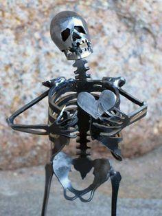 Zombie Skeleton Take My Heart Metal Sculpture by zedszombieranch