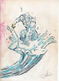 Caneta preta esferográfica, lápis azul, e giz de cera! Eis o Homem de Gelo!