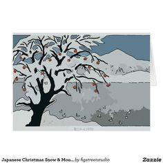 Japanese Christmas Snow & Mountain Card