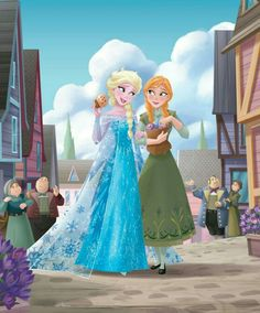 Elsa and Anna in the town.
