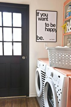 Dress up your washer and dryer with contact paper.
