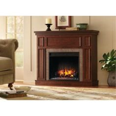 Home Decorators Collection Granville 43 in. Convertible Electric Fireplace in Antique Cherry with Faux Stone Surround-82339 at The Home Depot