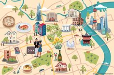 Jasmijn Evans - Illustrated map of Shanghai for KLM Holland Herald magazine