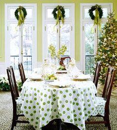 Green Christmas...love the tablecloth & chair cushions!