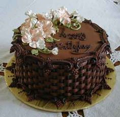 chocolate buttercream basket weave with gum paste flowers