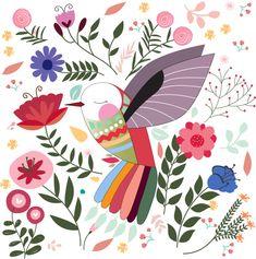 Colorful bird in sptring summer flower garden Vector Image - Garden Drawing Bird Illustration, Pattern Illustration, Colorful Birds, Colorful Flowers, Funny Bird, Scandinavian Folk Art, Garden Drawing, Summer Flowers, Bird Art