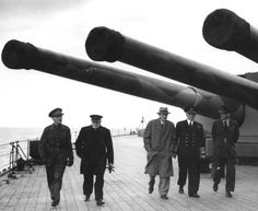 HMS Prince of Wales with Prime Minister Sir Winston S. Churchill en route to the Atlantic Charter Conference with President Franklin D. Hms Prince Of Wales, Flak Tower, Invasion Of Poland, Capital Ship, Military Pictures, Big Guns, Red Army, Royal Navy, British History