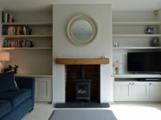 New Photographs Brick Fireplace before and after Popular Bespoke cabinetry painted Little Greene Slaked Lime Mid Log Burner Living Room, Living Room With Fireplace, New Living Room, 1930s Living Room, Living Spaces, Victorian Living Room, Alcove Ideas Living Room, Living Room Shelves, Living Room Designs