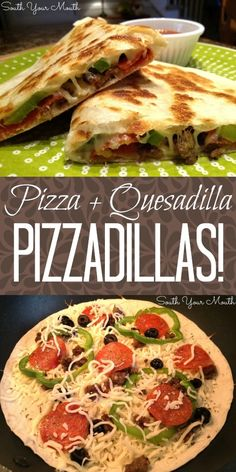 South Your Mouth: whole wheat tortillas, low sugar pizza sauce, part skim mozzarella cheese = diet friendly meal! Pizza Quesadilla, Quesadillas, Italian Recipes, Mexican Food Recipes, Real Food Recipes, Dinner Recipes, Cooking Recipes, Healthy Recipes, I Love Food