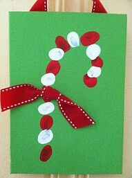 Candy cane finger prints craft for kids. Christmas DIY.