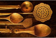 Here's information about how this traditional Indian punched brass kitchenware is made: http://gaathastore.quora.com/Brass-work-Mehsana. Here is where to buy pieces like these: http://shop.gaatha.com/index.php?route=product/product&product_id=426